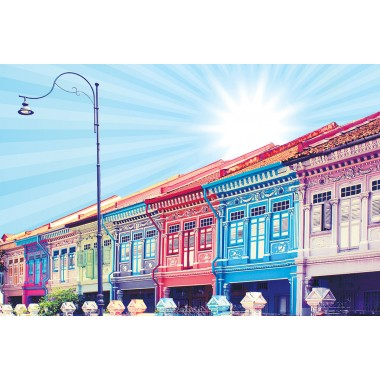 Colourful Shophouses 1 (Blue)
