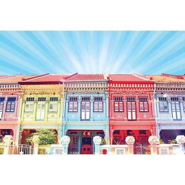 Colourful Shophouses 2 (Blue)
